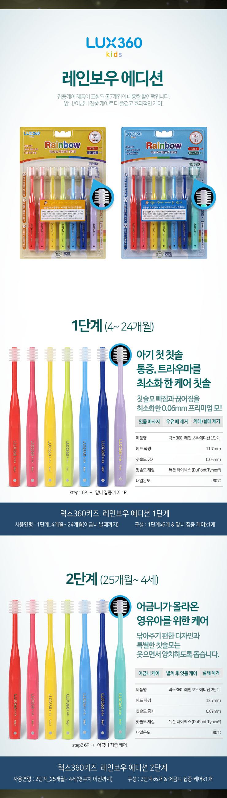 럭스360키즈 7P, 집중케어, 레인보우7P, 유아칫솔, 어린이칫솔, 360도칫솔